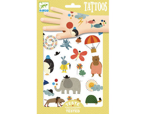 Kids Temporary Tattoo Cat Elephant dog Tortoise Hot air Balloon Penguin