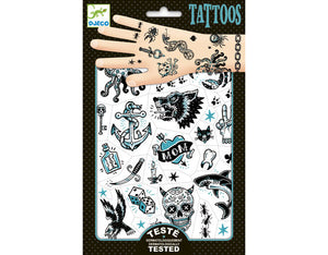 Kids Temporary Tattoo Darkside Skull Wolf Shark tooth skull  eagle dice