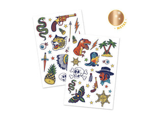 Kids Temporary Tattoos bang bang Cowboy Gun dinosaur snake tiger