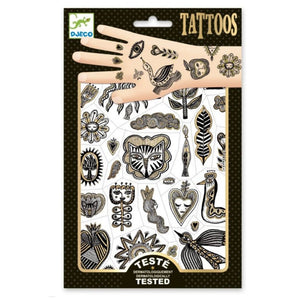 Kids Temporary Tattoo Golden Chic Leaves  Cat Balck and gold      Birds