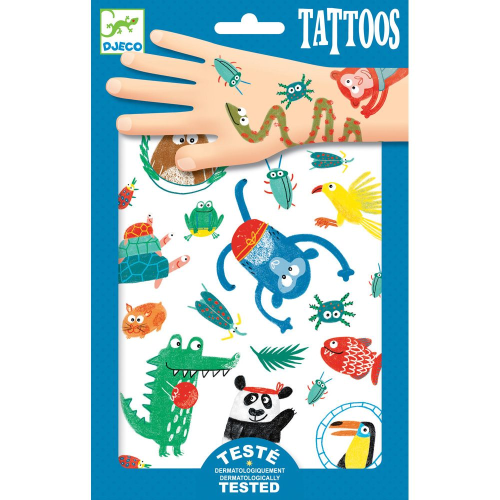Kids Temporary Tattoos Monkey Fish Crocodile Turtle panda