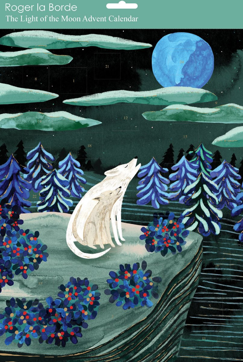 Advent Calendar night scene with wolves