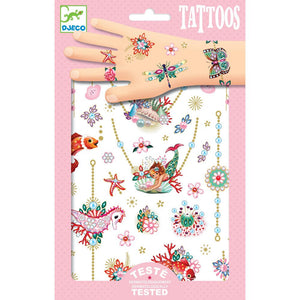 Kids Temporary Tattoo pink jewels Mermaid Seahorse Clown Fish Starfish