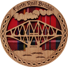 Load image into Gallery viewer, wooden and tartan coaster, forth rail bridge