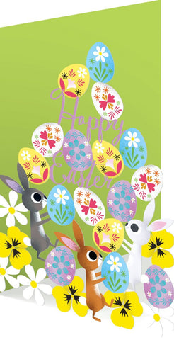 Card Easter Eggs Bunnies Laser Cut