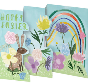 rainbow, bunny and flowers on fold out card