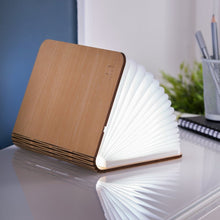 Load image into Gallery viewer, A clever concertina paged light which looks like a book. In maple wood casing.  When closed, 17W x 21.5H x 2.5cm