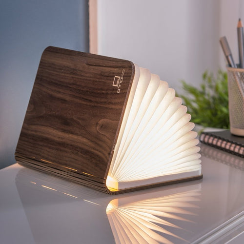 A clever concertina paged light which looks like a book. In walnut casing. When closed, 17W x 21.5H x 2.5cm