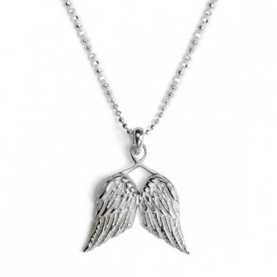 Silver Ball chain with wings pendant