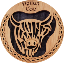 Load image into Gallery viewer, wooden and tartan coaster, highland cow