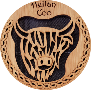 wooden and tartan coaster, highland cow