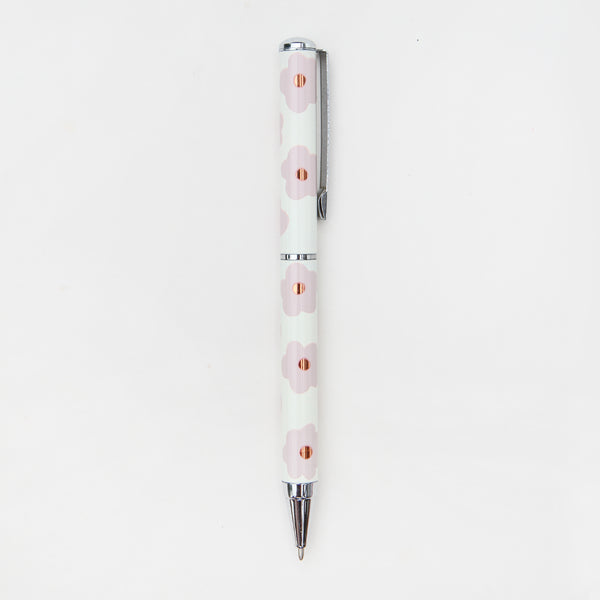 pink daisy design on white pen, metallic s