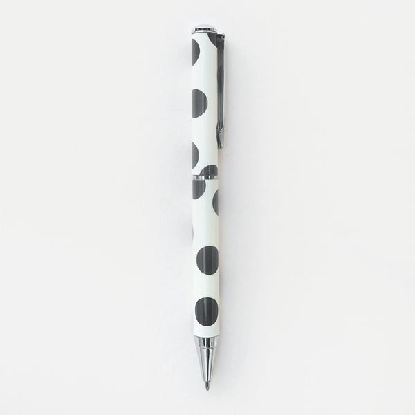 white pen with black spots