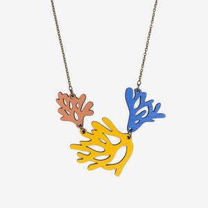 Blue Yellow and Pink coral reef necklace