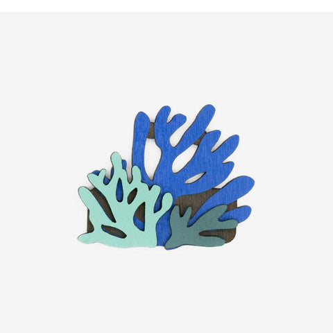 Truquoise Teal and creamy blue Coral reef brooch