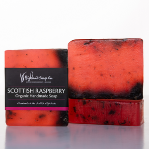 translucent red soap with black label