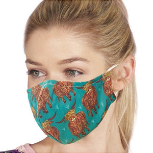 Eco chic Face mask teal highland cow