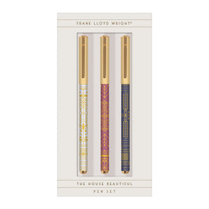 The Frank Lloyd Wright The House Beautiful Everyday Pen Set from Galison includes three pens decorated with Wright's designs evoking ironwork and Middle Eastern tapestries originally published in his book, The House Beautiful. Pens have stylish gold caps – a visually stunning addition to your workspace.