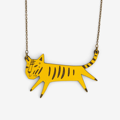 Walnut lazer cut yellow tiger necklace