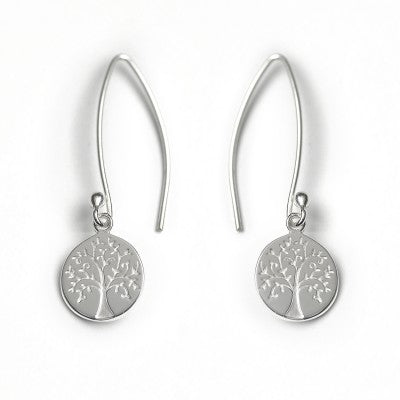 Silver Drop Earrings with Tree of Life engraved disc