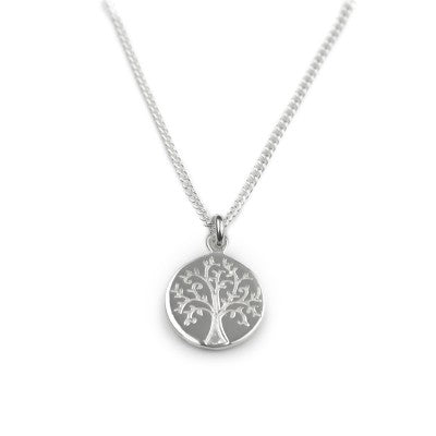 Silver Necklace with Tree of life engraved on pendant disc