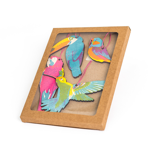 Cardboard box with acetate window and four bright wooden birds