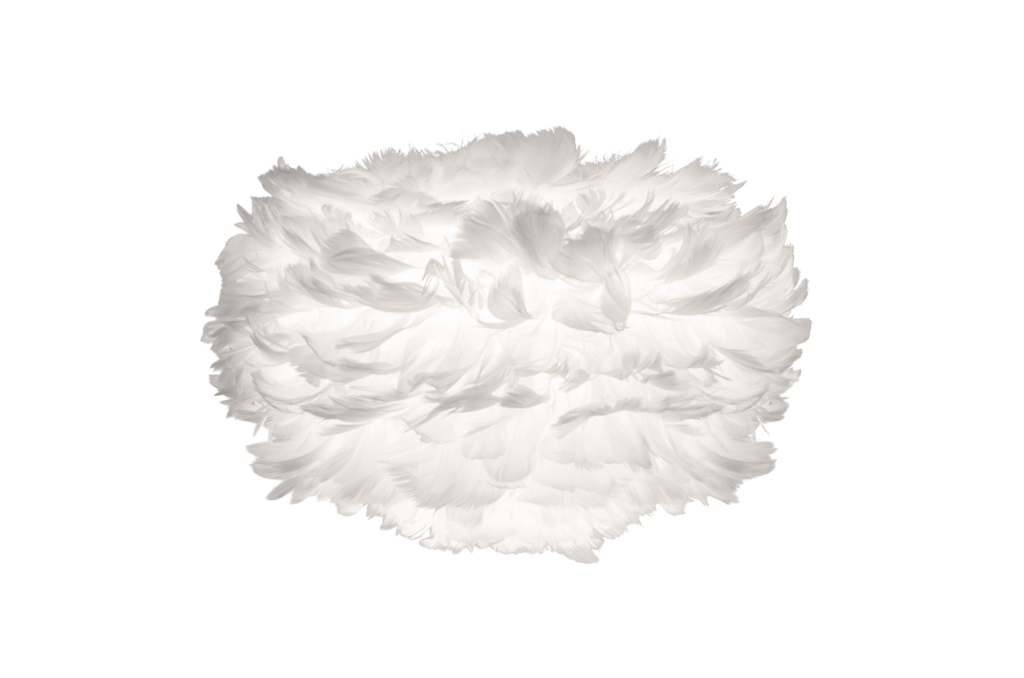 White goose feather light shade.  H20 x W35cm