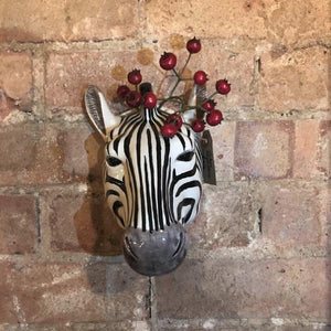 ceramic zebra flower vase for wall mounting