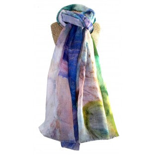 A scarf of a Colourful swirled mix of vivid colours.   Composition: 100% Polyester   Approx: 180cm x 86cm