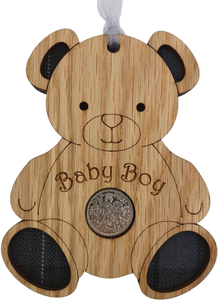 lucky sixpence baby boy wooden hanging with tartan inset