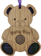 lucky sixpence baby girl wooden hanging with tartan inset