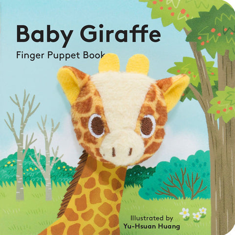 small puppet book featuring adorable baby giraffe
