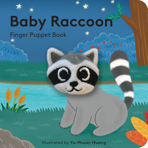 small puppet book featuring adorable baby raccoon