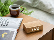 Load image into Gallery viewer, A clever natural wood alarm clock in Bamboo, which you turn over to activate alarm facility