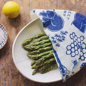 asparagus in bowl with wrap covering