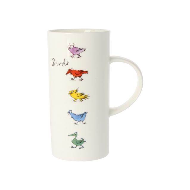 tall thin mug with bird designs by Quentin Blake