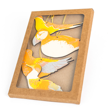 Load image into Gallery viewer, Cardboard box with acetate window and four bright wooden sea birds