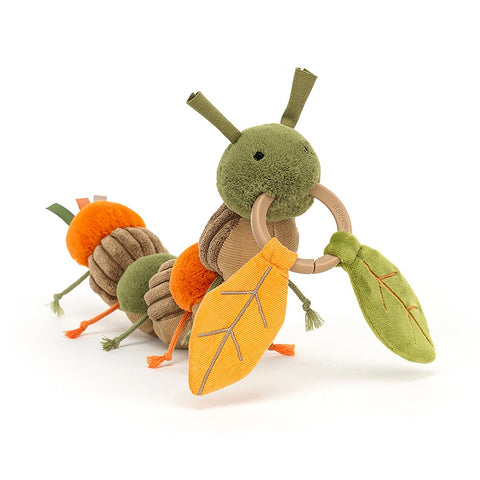 Activity plush caterpillar toy suitable from birth
