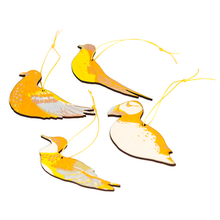 Load image into Gallery viewer, wooden cut out yellow printed sea birds