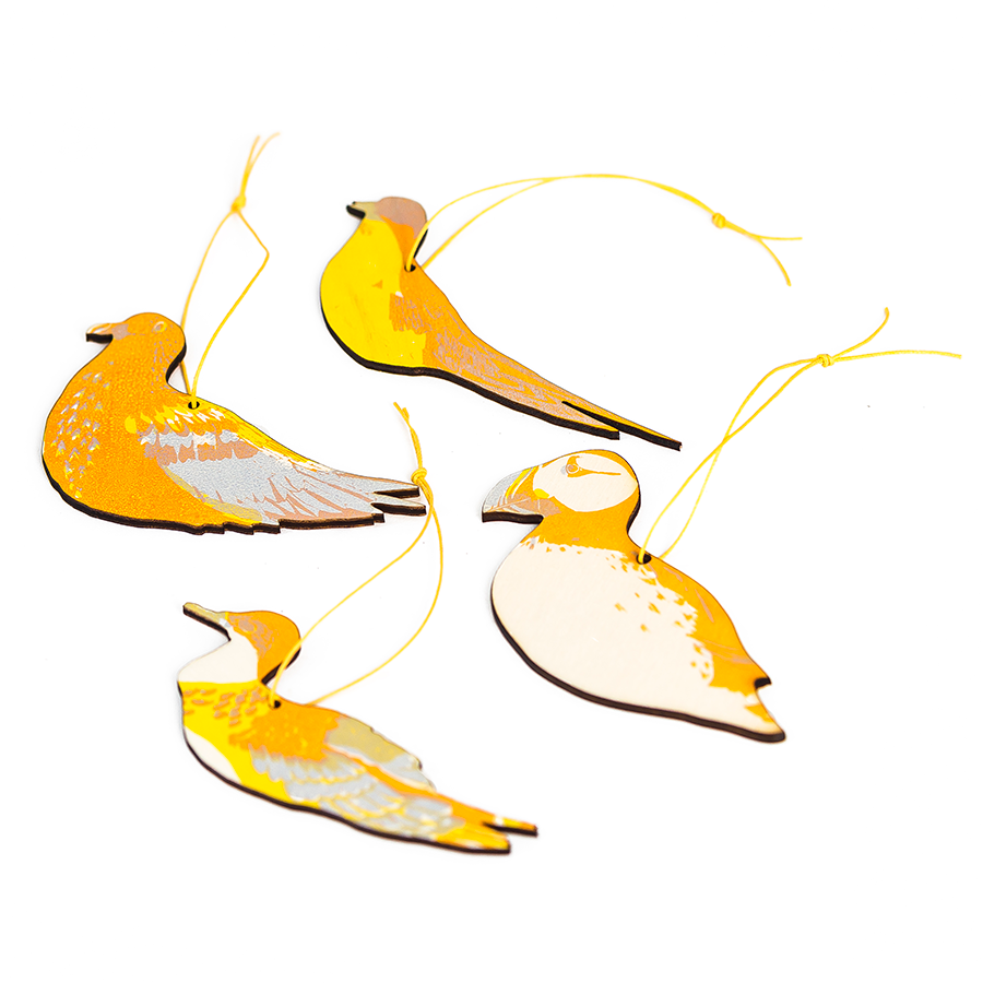 wooden cut out yellow printed sea birds