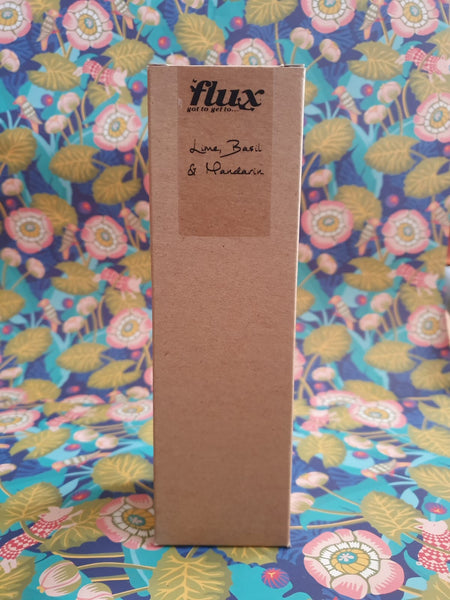flux glass bottle reed diffuser with brown cardboard box