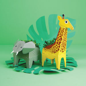 3d cardboard elephant and giraffe