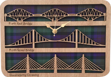 Load image into Gallery viewer, laser cut wooden clock featuring forth bridges.  Tartan background.