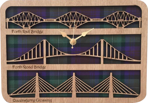 laser cut wooden clock featuring forth bridges.  Tartan background.