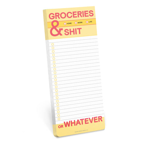 a fun tear off page pad for noting grocery lists (or shit)