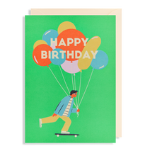 Load image into Gallery viewer, happy birthday card guy with balloons and skateboard