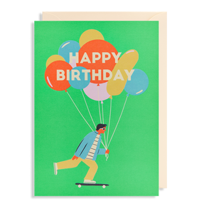 happy birthday card guy with balloons and skateboard