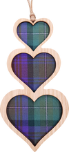 Load image into Gallery viewer, wooden and tartan hanging plaque, triple heart