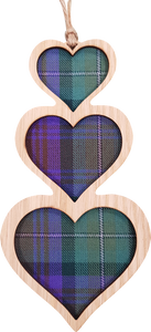 wooden and tartan hanging plaque, triple heart
