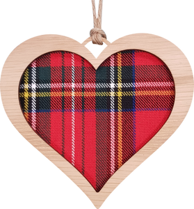 heart wooden hanging with tartan inset